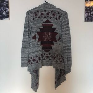 Red and grey Aztec open cardigan Charlotte Russe s